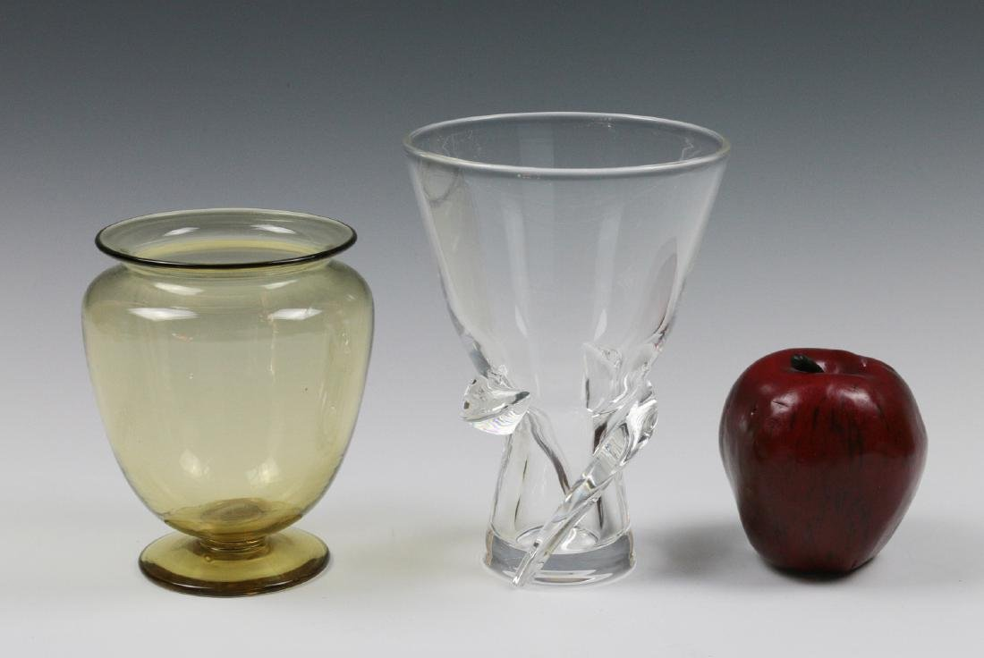 STEUBEN AMBER AND COLORLESS CRYSTAL VASES - 5