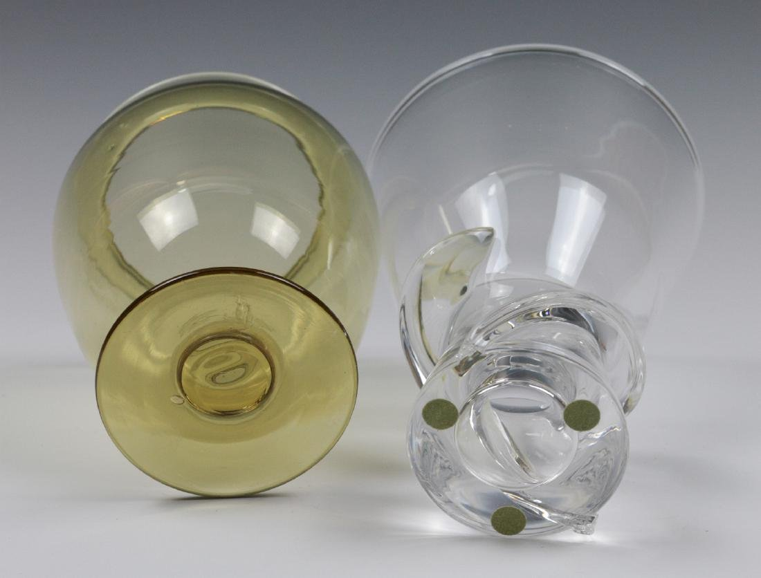 STEUBEN AMBER AND COLORLESS CRYSTAL VASES - 6