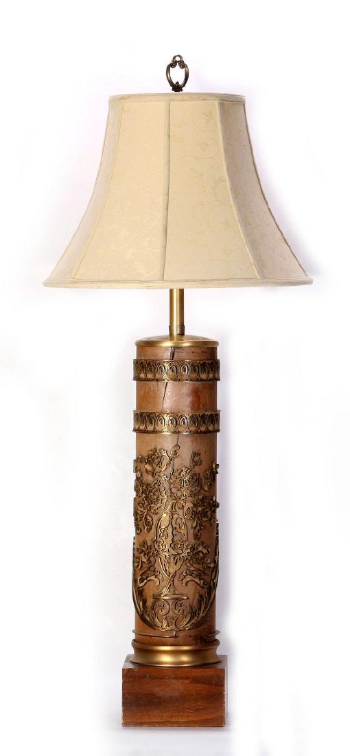 A VINTAGE FRENCH WALLPAPER PRINTING ROLL, AS LAMP