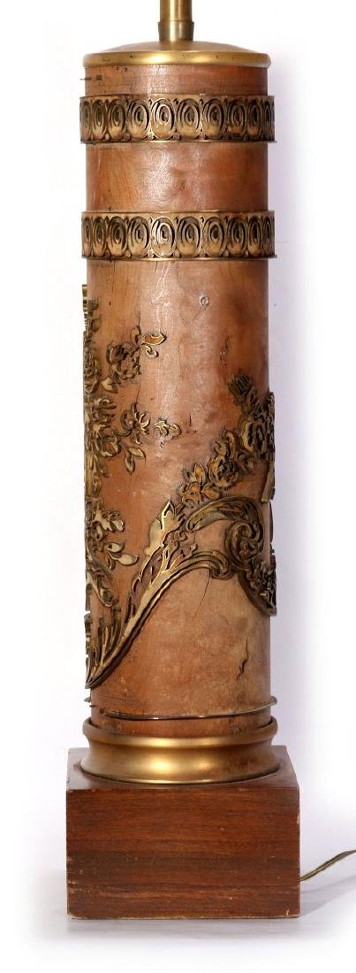 A VINTAGE FRENCH WALLPAPER PRINTING ROLL, AS LAMP - 5