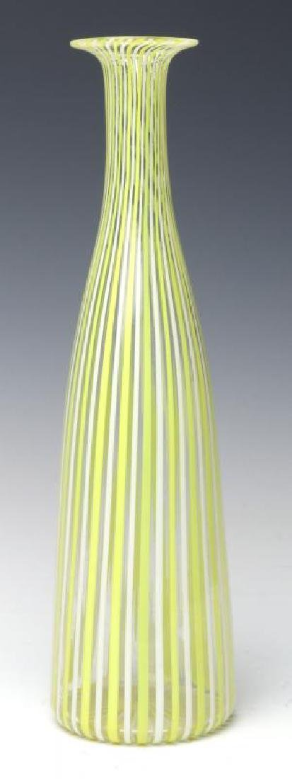 A MURANO GLASS BOTTLE VASE SIGNED VENINI, AS FOUND