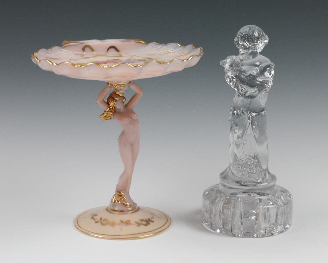 CAMBRIDGE GLASS COMPOTE AND FLOWER FROG