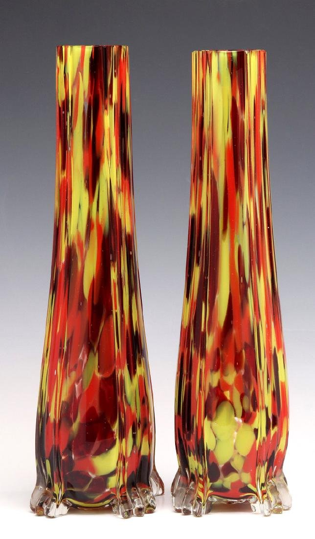 A PAIR OF CZECHOSLOVAKIAN ART GLASS VASES
