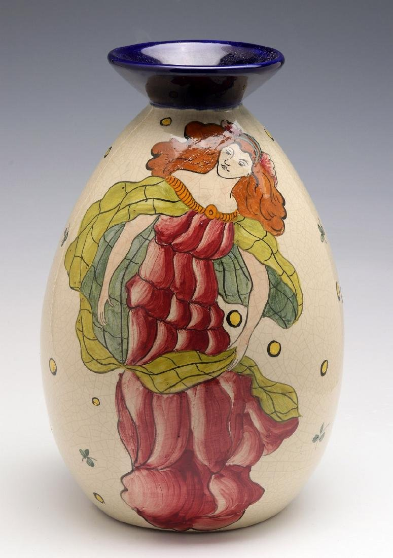 A FRENCH ART DECO HAND PAINTED POTTERY VASE