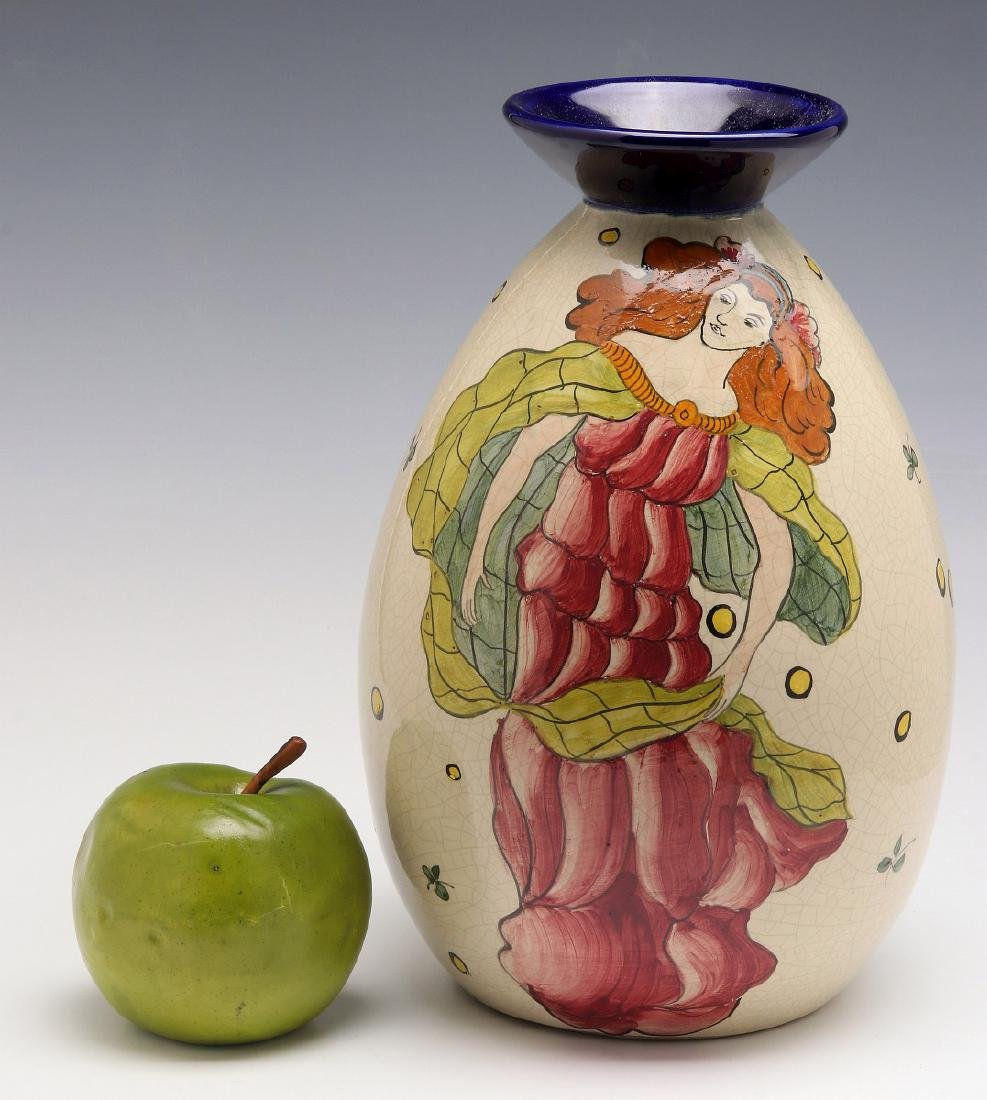 A FRENCH ART DECO HAND PAINTED POTTERY VASE - 2