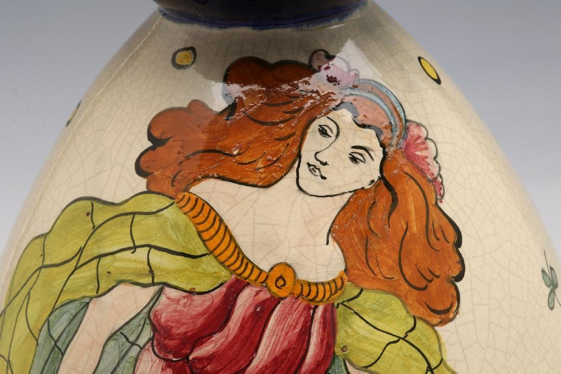 A FRENCH ART DECO HAND PAINTED POTTERY VASE - 3
