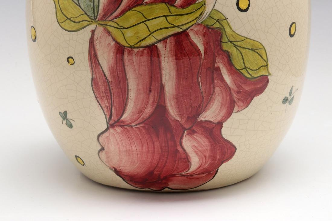 A FRENCH ART DECO HAND PAINTED POTTERY VASE - 4