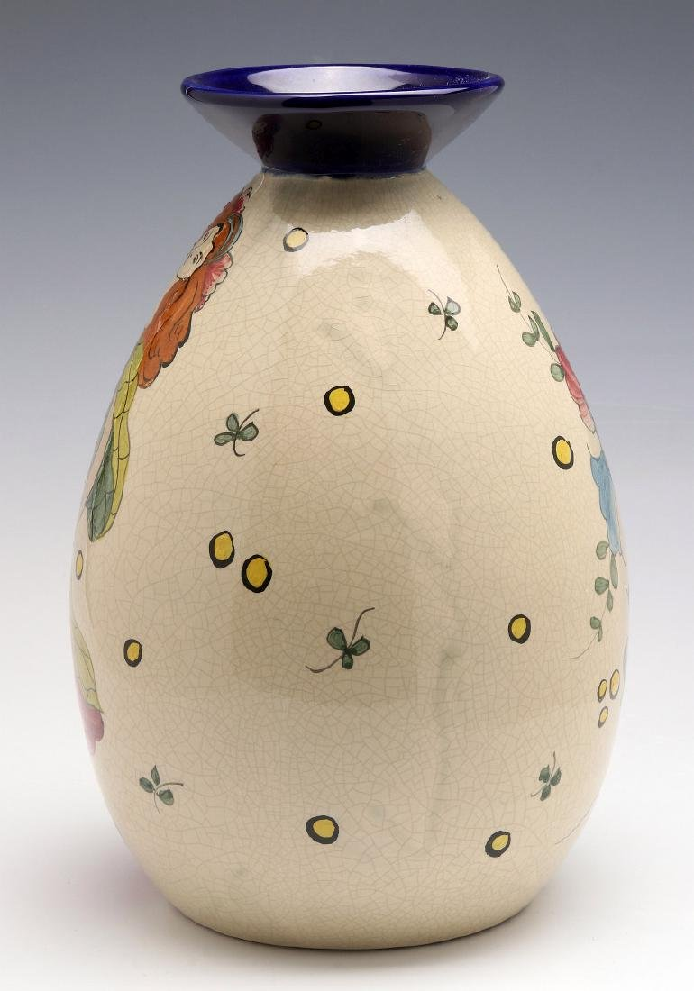 A FRENCH ART DECO HAND PAINTED POTTERY VASE - 5