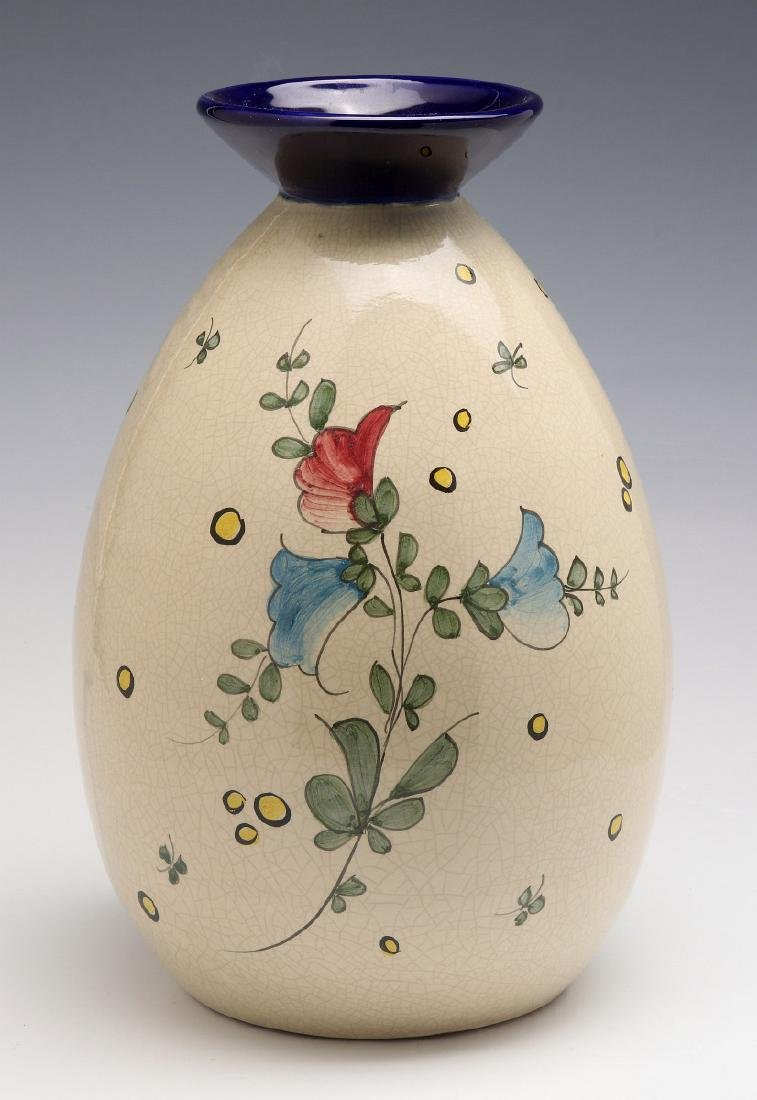A FRENCH ART DECO HAND PAINTED POTTERY VASE - 6