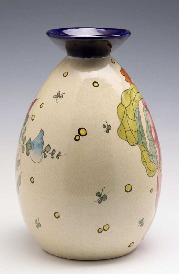 A FRENCH ART DECO HAND PAINTED POTTERY VASE - 7