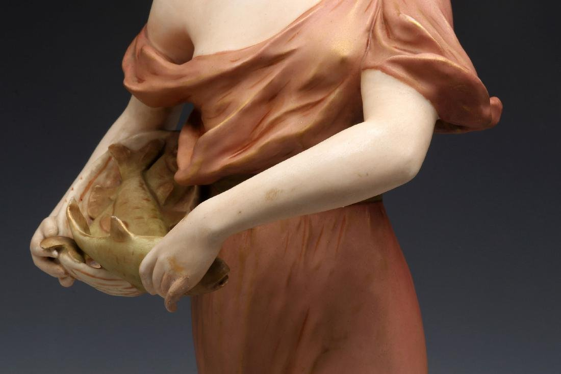 A ROYAL DUX FIGURE OF A WOMAN WITH FISH - 3
