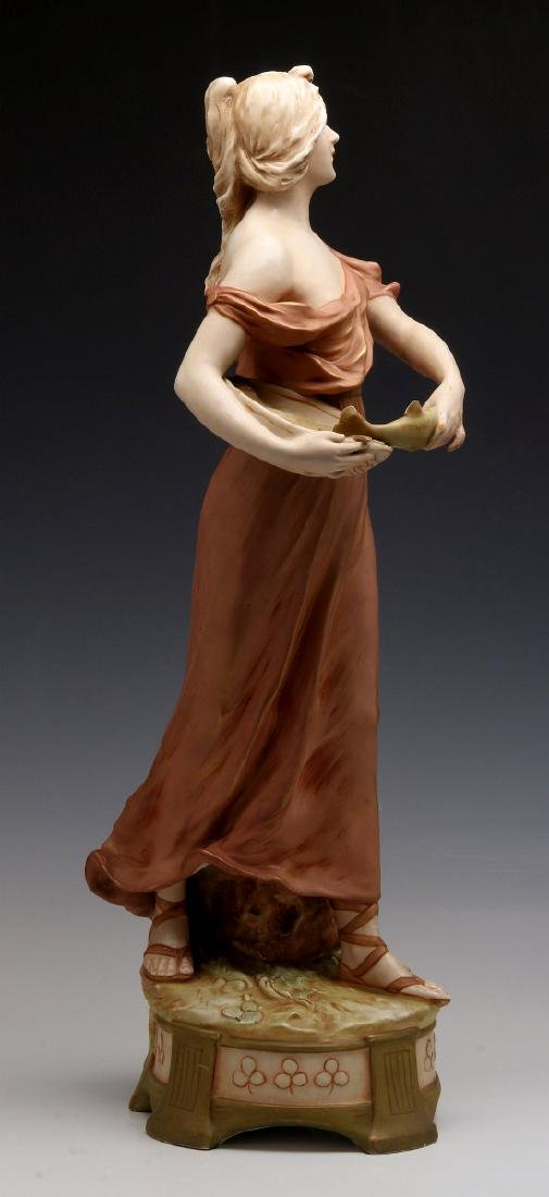 A ROYAL DUX FIGURE OF A WOMAN WITH FISH - 5