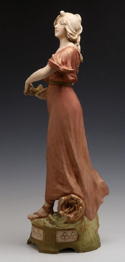 A ROYAL DUX FIGURE OF A WOMAN WITH FISH - 7