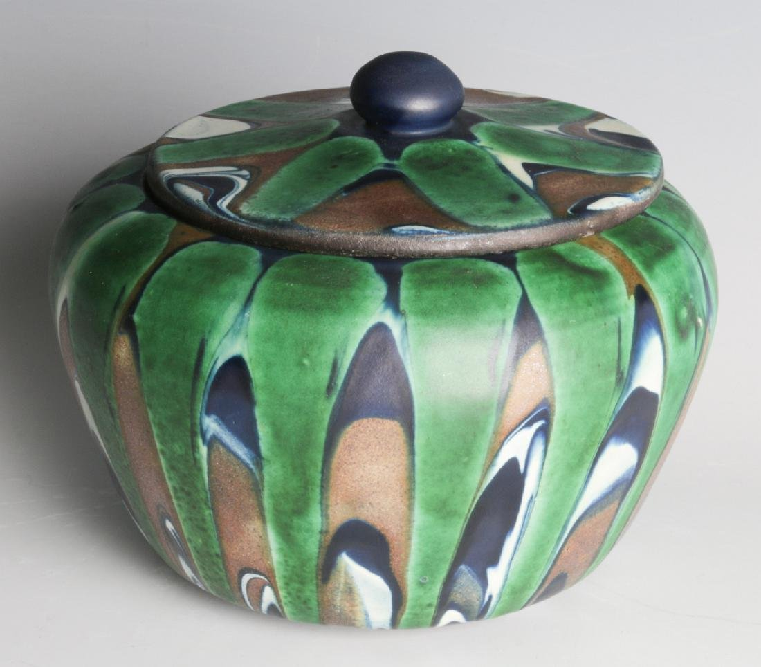 A CIRCA 1920 ART POTTERY HUMIDOR SIGNED DANMARK