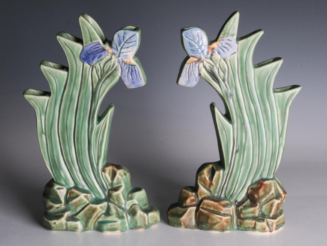 A PAIR OF WELLER 'ARDSLEY' STEPPED IRIS VASES