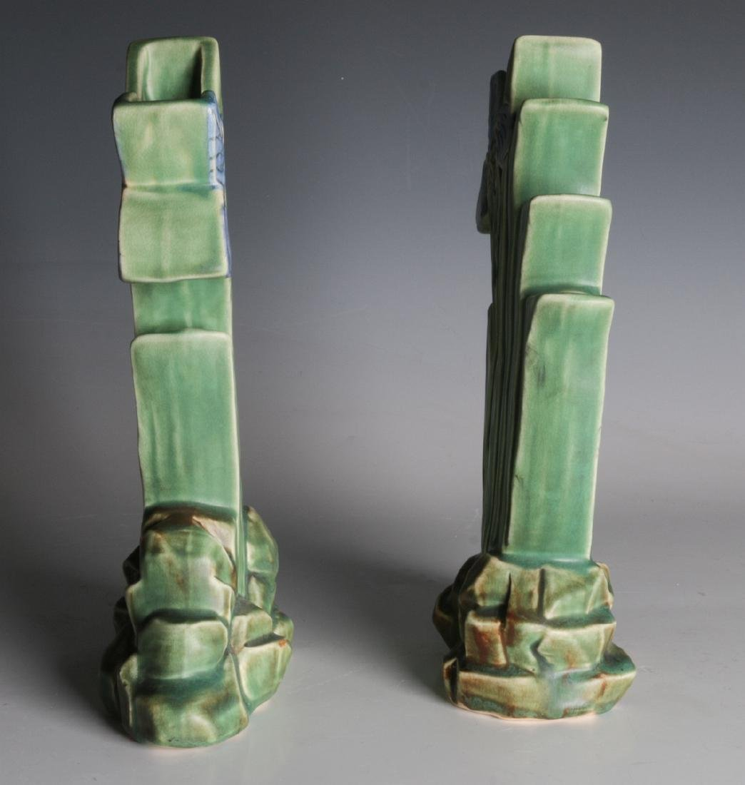 A PAIR OF WELLER 'ARDSLEY' STEPPED IRIS VASES - 2