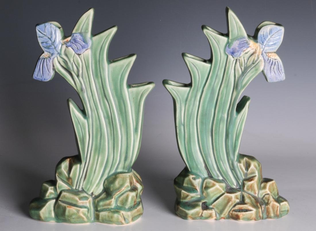 A PAIR OF WELLER 'ARDSLEY' STEPPED IRIS VASES - 3