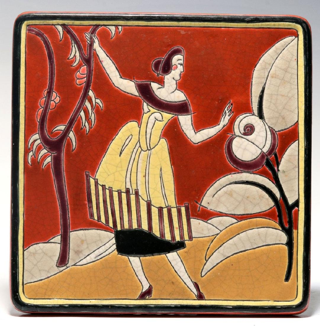 A LONGWY PRIMAVERA FRENCH ART DECO TILE