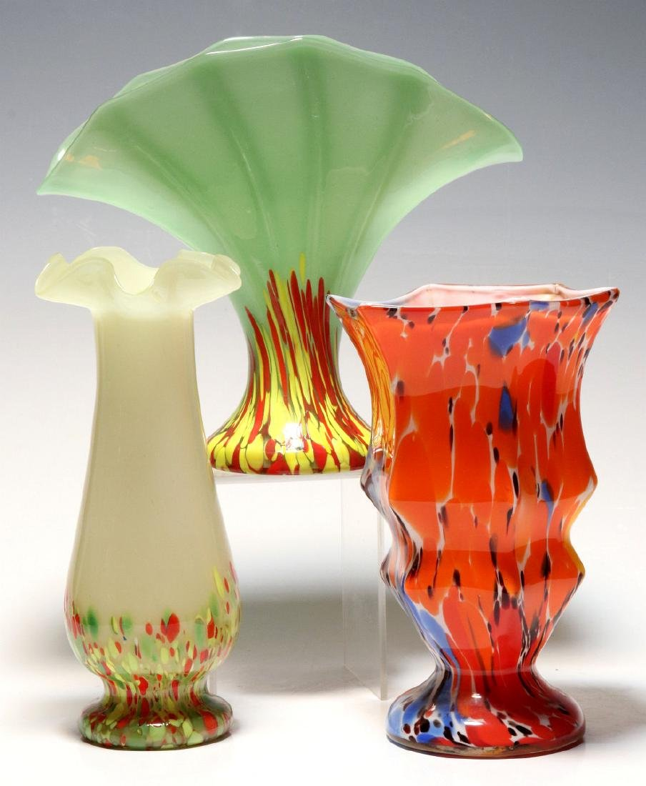 TWO ART GLASS VASES SIGNED CZECHOSLOVAKIA