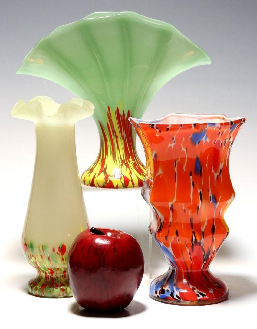 TWO ART GLASS VASES SIGNED CZECHOSLOVAKIA - 2