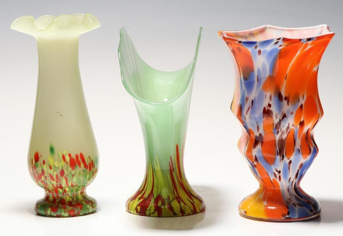 TWO ART GLASS VASES SIGNED CZECHOSLOVAKIA - 6