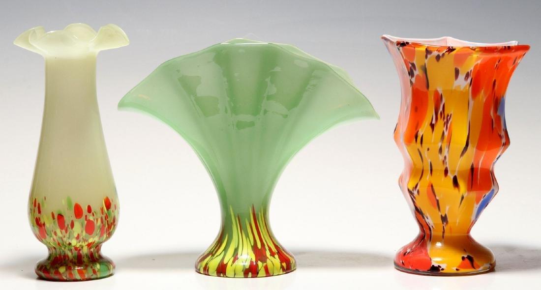 TWO ART GLASS VASES SIGNED CZECHOSLOVAKIA - 7