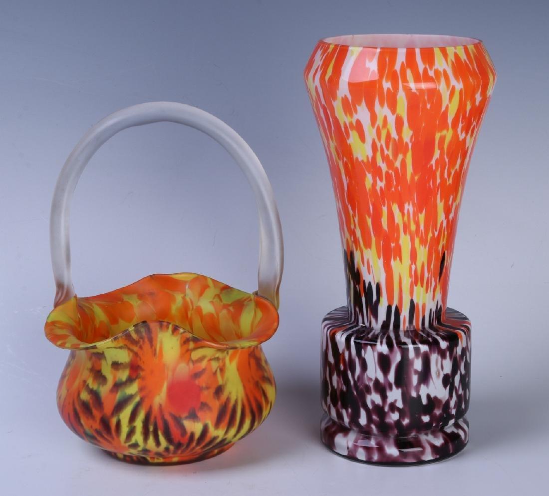 CZECH ART GLASS VASE AND BASKET