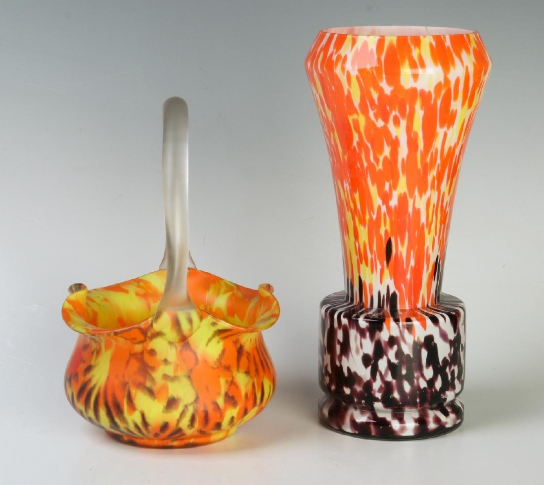 CZECH ART GLASS VASE AND BASKET - 2