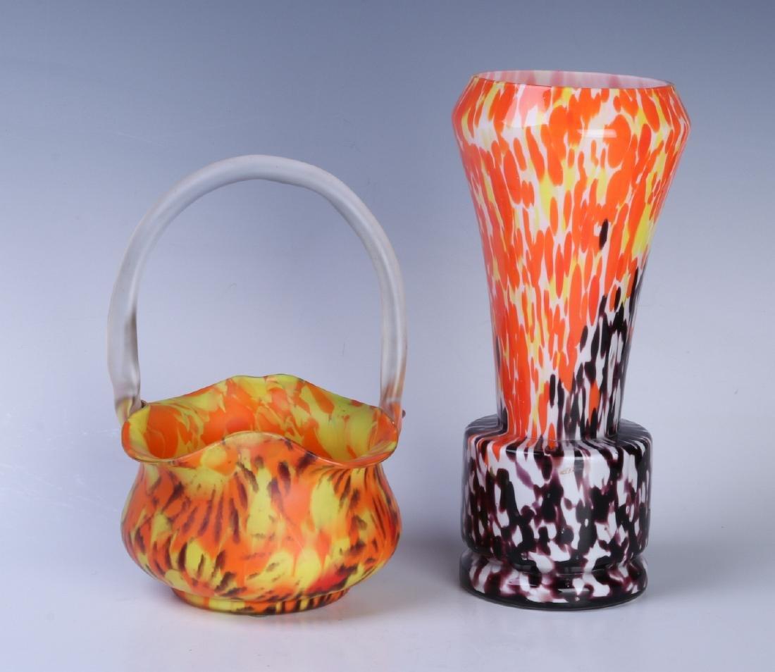 CZECH ART GLASS VASE AND BASKET - 3