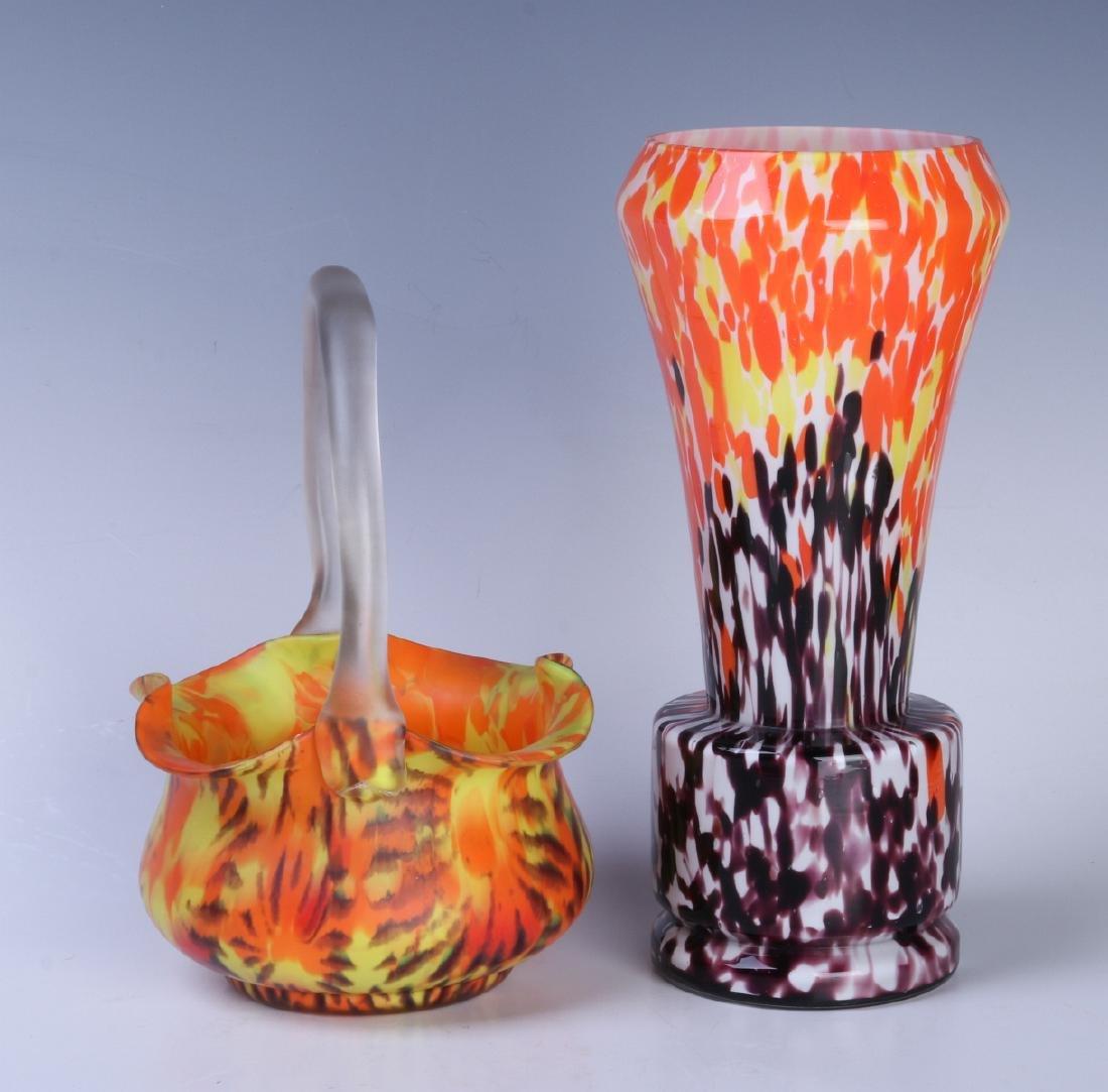 CZECH ART GLASS VASE AND BASKET - 4