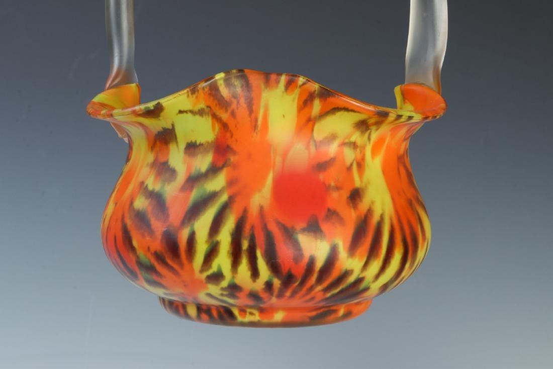 CZECH ART GLASS VASE AND BASKET - 5