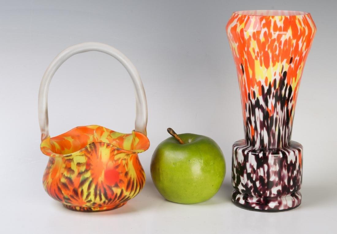 CZECH ART GLASS VASE AND BASKET - 7