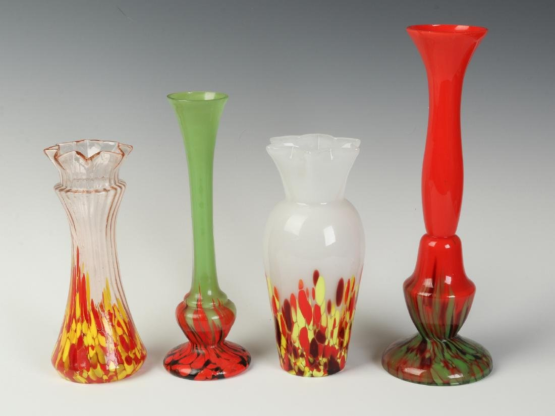 A COLLECTION FOUR CZECHOSLOVAKIA ART GLASS VASES
