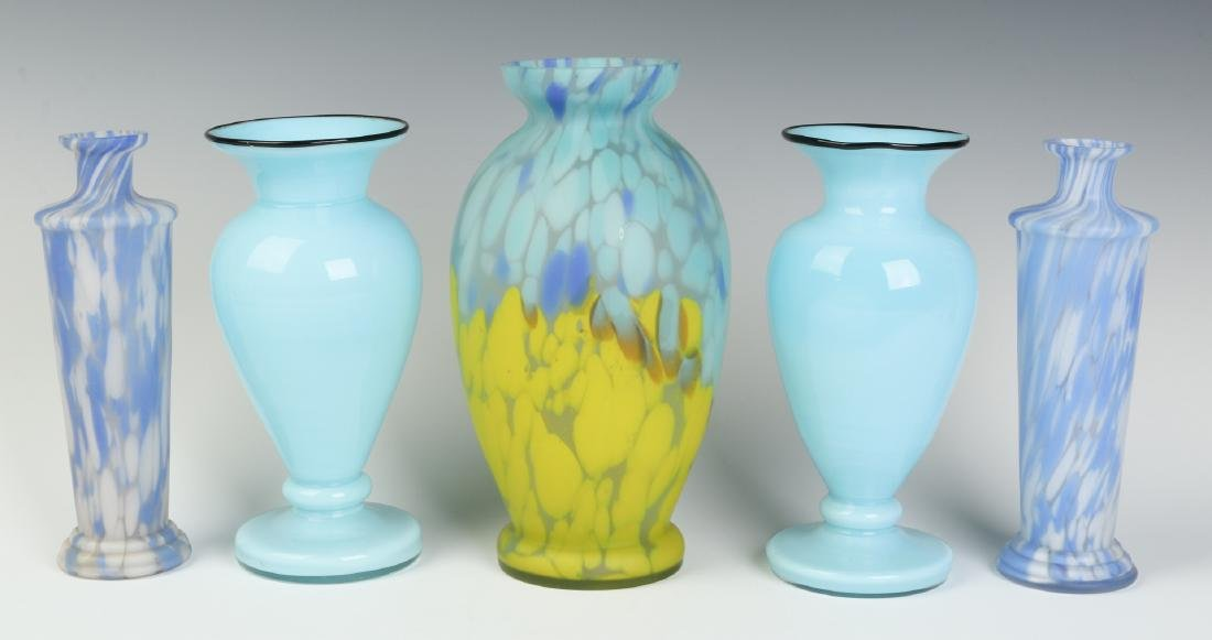 FIVE CZECH ART GLASS VASES