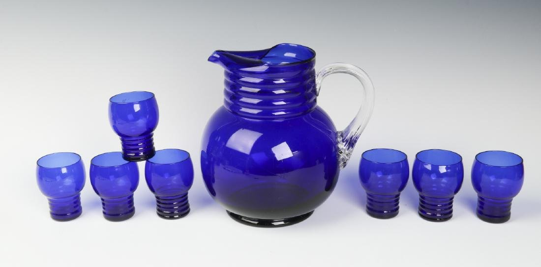 A LOUIE ART DECO COBALT HARPO WATER SET C. 1930s