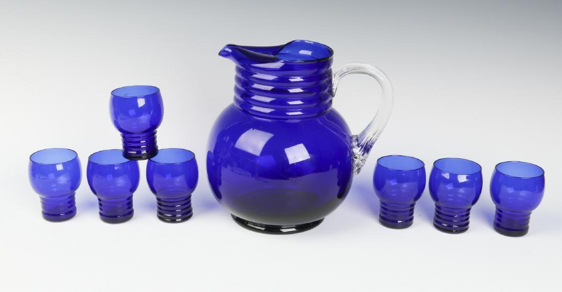 A LOUIE ART DECO COBALT HARPO WATER SET C. 1930s - 2