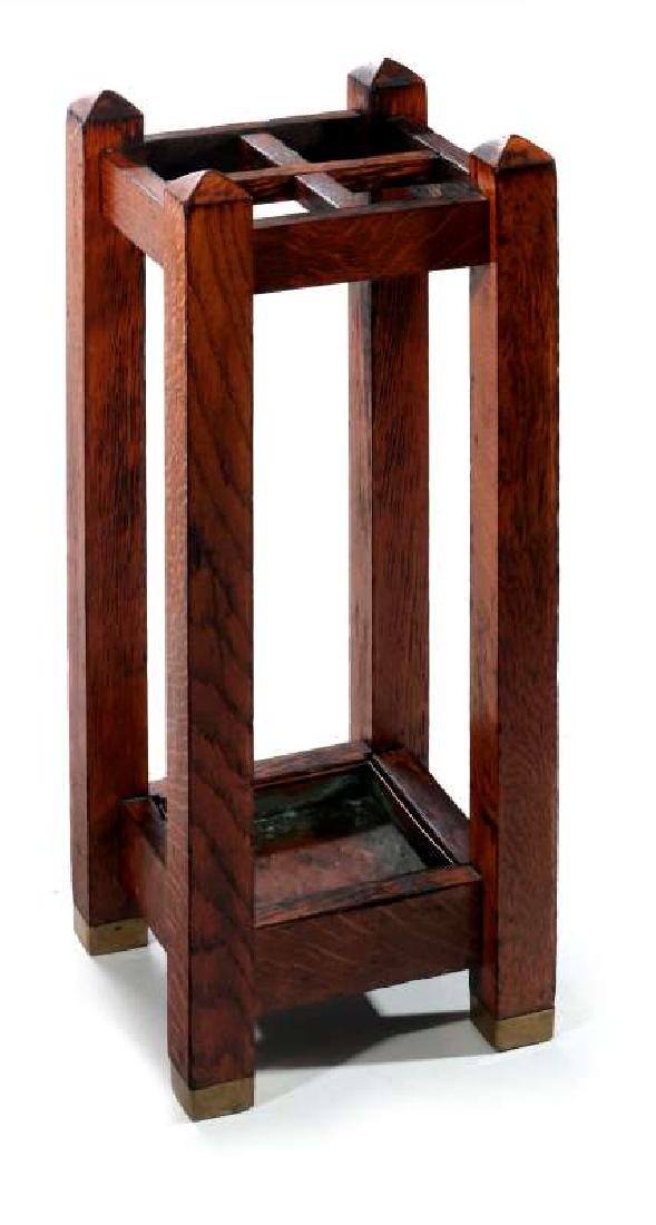 A GOOD OAK ARTS AND CRAFTS UMBRELLA STAND