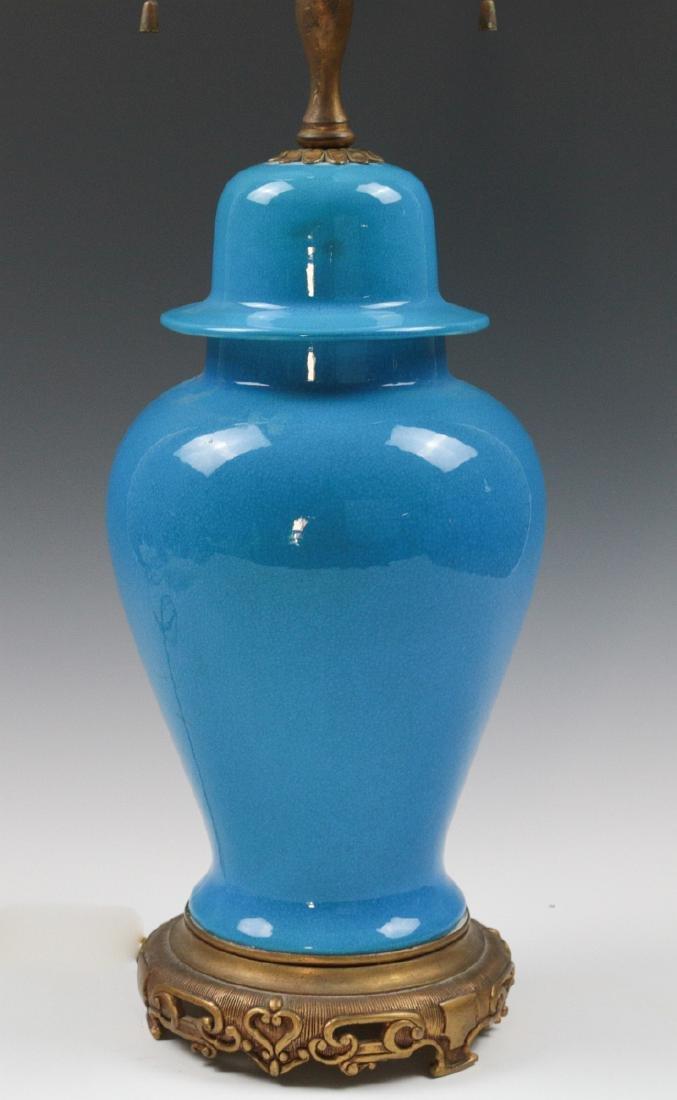 A SEVRES BLUE CRACKLE GLAZE GINGER JAR LAMP