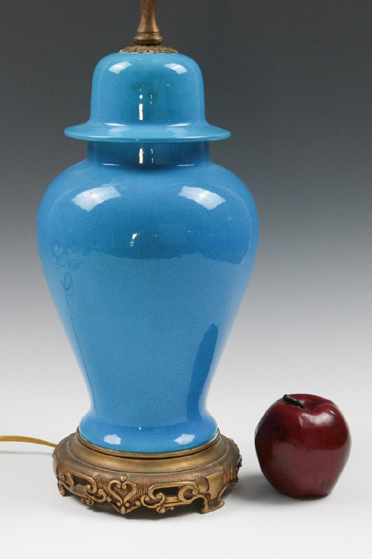 A SEVRES BLUE CRACKLE GLAZE GINGER JAR LAMP - 4