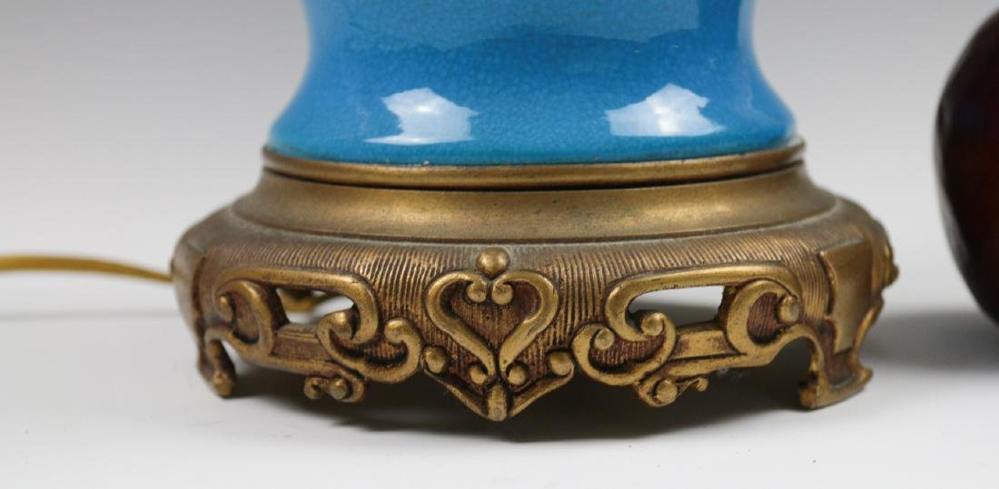A SEVRES BLUE CRACKLE GLAZE GINGER JAR LAMP - 5