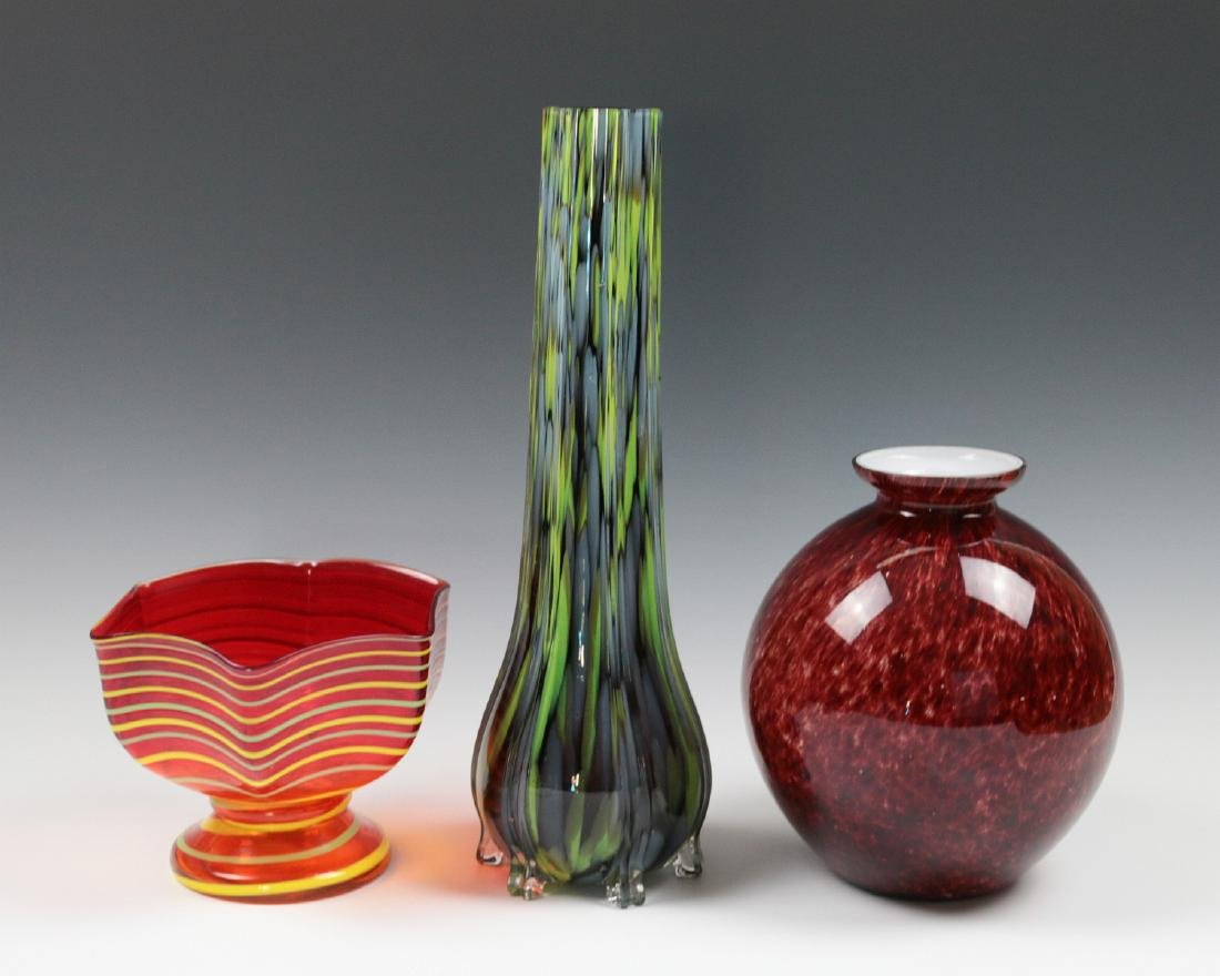 THREE ART GLASS VASES SIGNED CZECHOSLOVAKIA