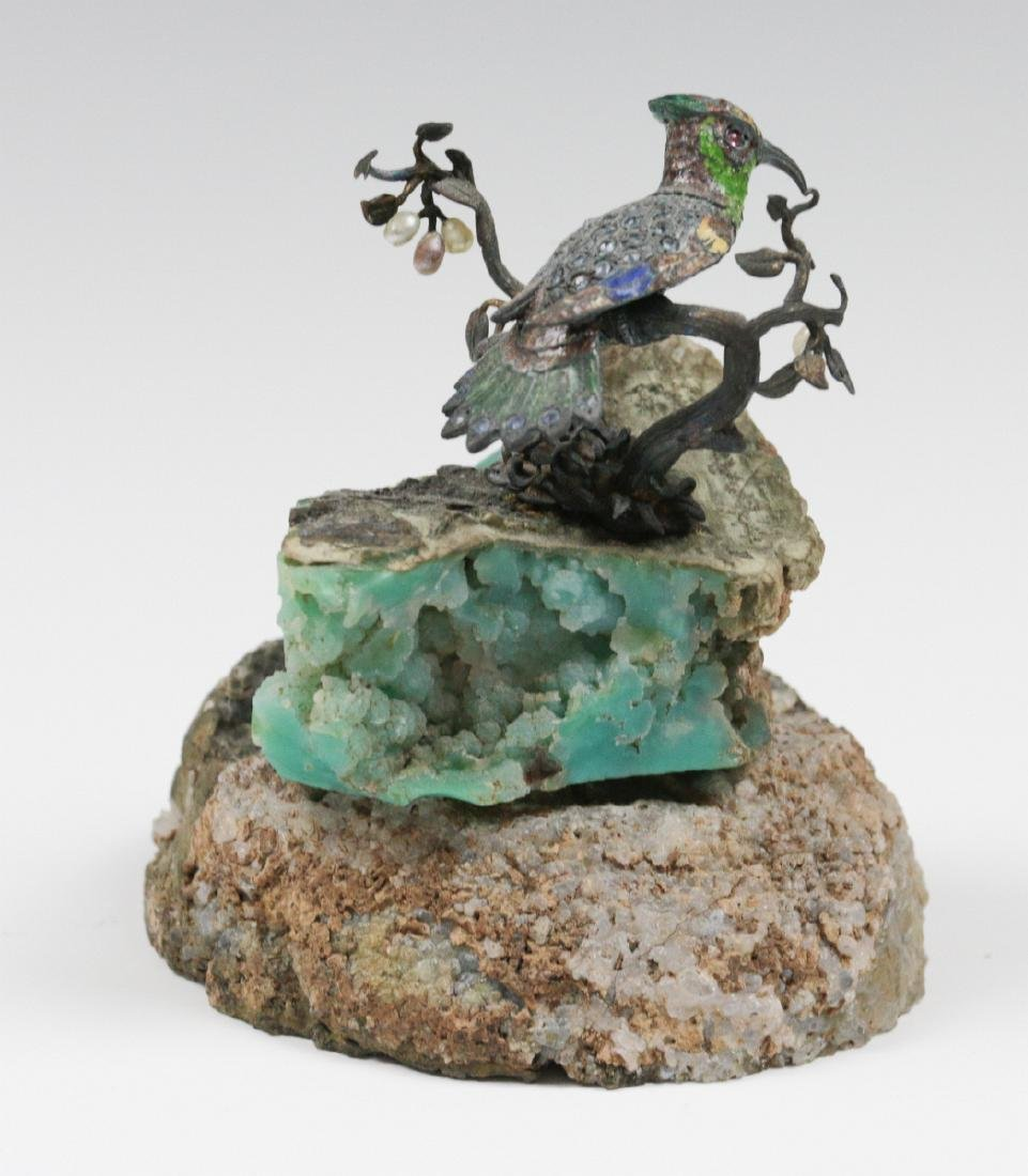 A SMALL EMBELLISHED BRONZE FIGURE ON GEODE - 4