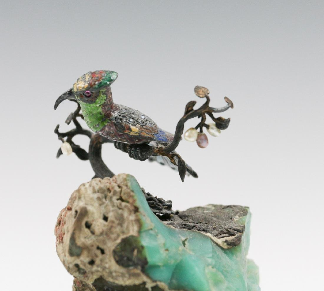 A SMALL EMBELLISHED BRONZE FIGURE ON GEODE - 6