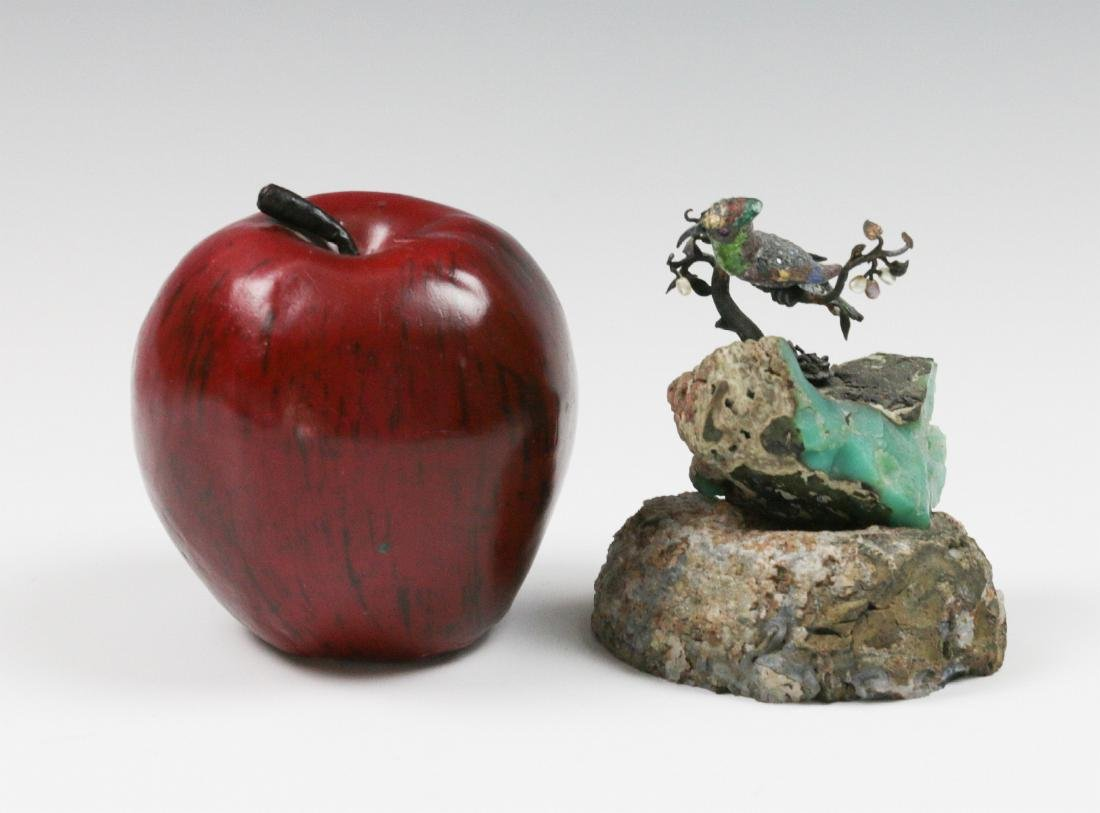 A SMALL EMBELLISHED BRONZE FIGURE ON GEODE - 7