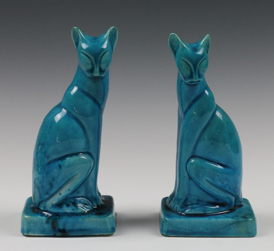 A PAIR EARLY 20TH C. CHINESE BLUE CRACKLE CATS