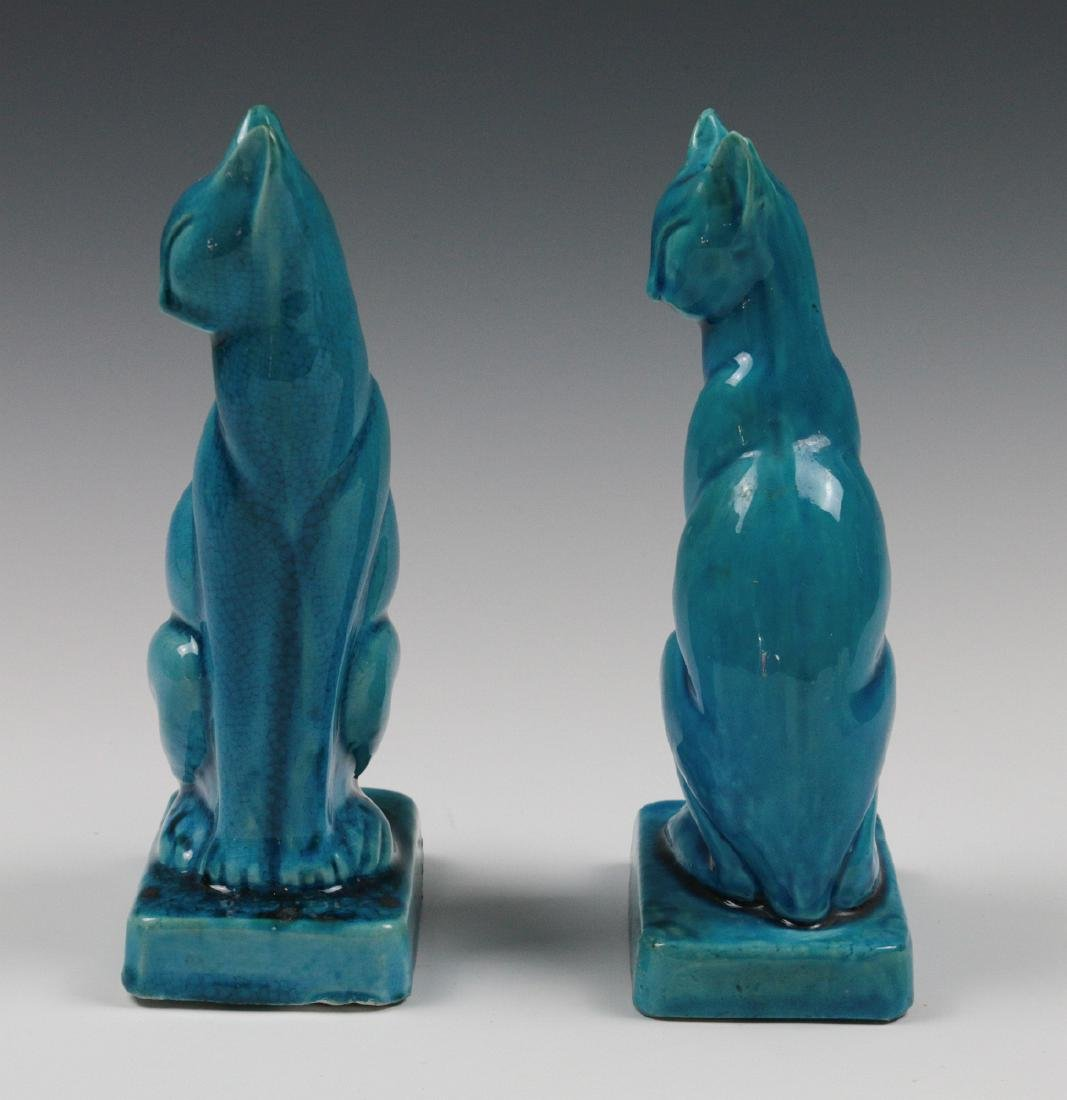 A PAIR EARLY 20TH C. CHINESE BLUE CRACKLE CATS - 4