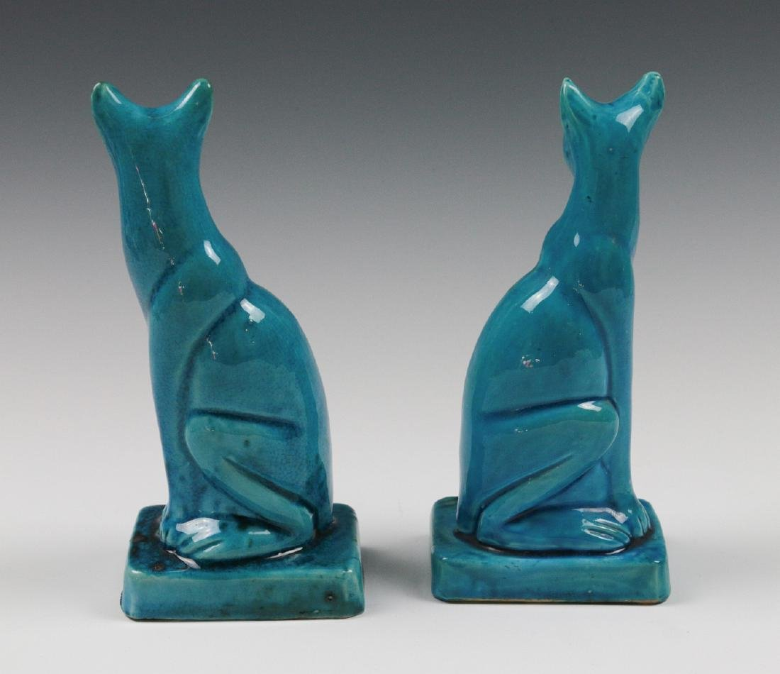 A PAIR EARLY 20TH C. CHINESE BLUE CRACKLE CATS - 5