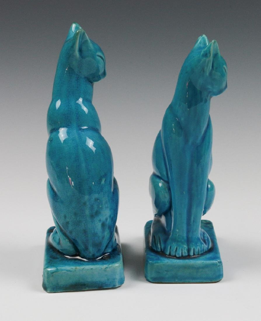A PAIR EARLY 20TH C. CHINESE BLUE CRACKLE CATS - 6