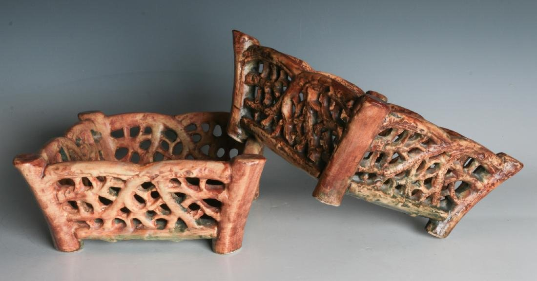 A PAIR OF WELLER 'WOODCRAFT' ART POTTERY BASKETS