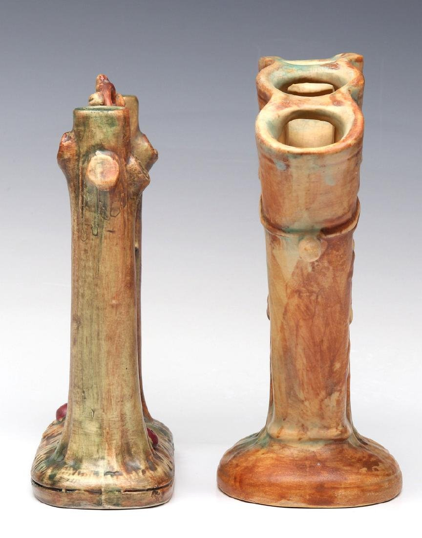 WELLER 'WOODCRAFT' POTTERY FAN VASE AND BUD VASE - 5